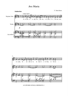 Ave Maria for Voice and Organ: Version for voice, violin and bayan by Camille Saint-Saëns
