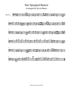 The Star Spangled Banner (National Anthem of The United States): For bassoon (4/4 time) by John Stafford Smith