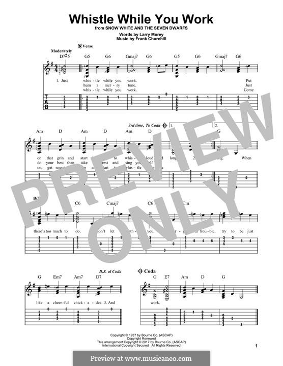 Whistle While You Work (from Snow White and The Seven Dwarfs): For guitar with tab by Frank Churchill, Larry Morey