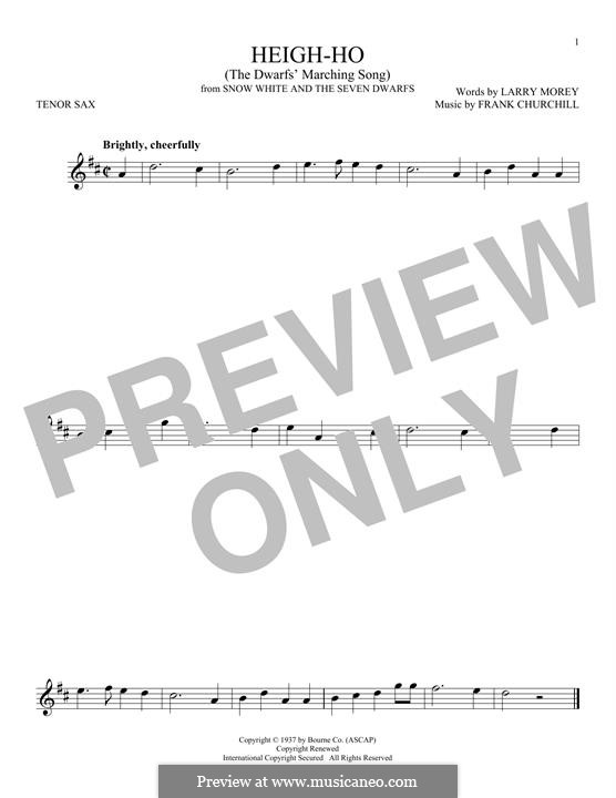 Heigh-Ho: For tenor saxophone by Frank Churchill