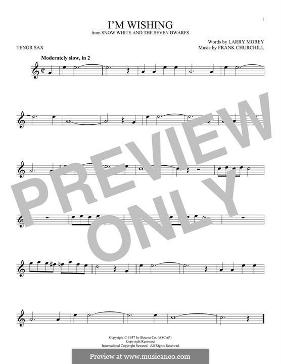 I'm Wishing: For tenor saxophone by Frank Churchill