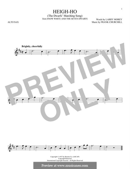 Heigh-Ho: For alto saxophone by Frank Churchill