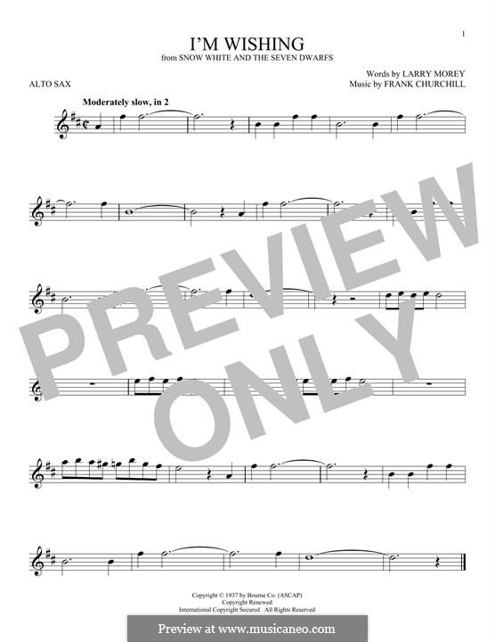 I'm Wishing: For alto saxophone by Frank Churchill