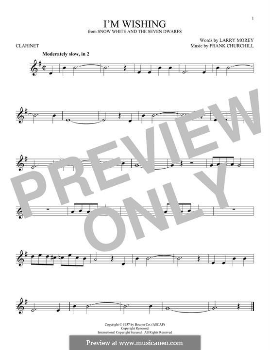 I'm Wishing: For clarinet by Frank Churchill