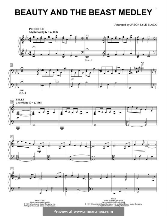 image relating to Beauty and the Beast Piano Sheet Music Free Printable named For piano