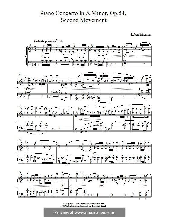 Concerto for Piano and Orchestra in A Minor, Op.54: Movement II, for piano by Robert Schumann