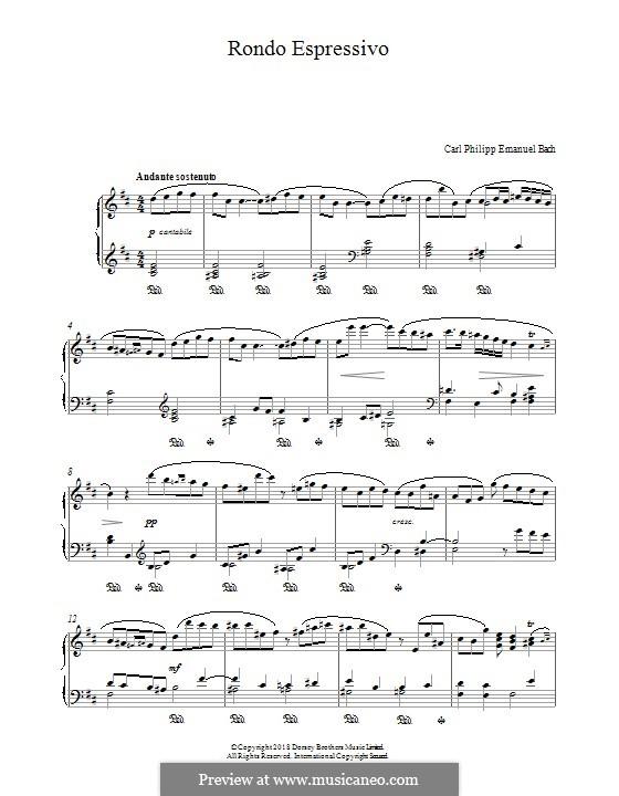 Rondo Espressivo: For piano by Carl Philipp Emanuel Bach