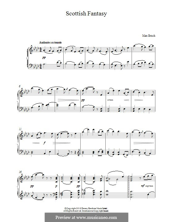 Scottish Fantasia for Violin and Orchestra, Op.46: Arrangement for piano by Max Bruch