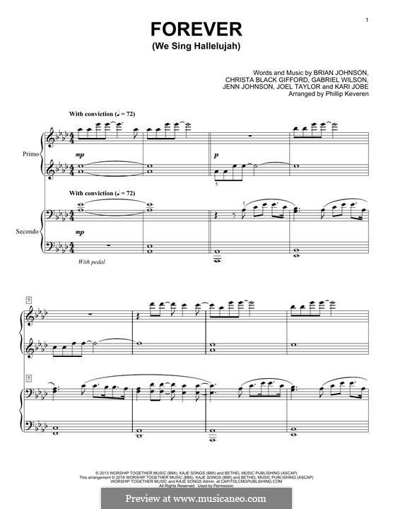 Forever (We Sing Hallelujah): For piano four hands by Brian Johnson, Kari Jobe, Christa Black Gifford, Gabriel Wilson, Jenn Johnson, Joel Taylor
