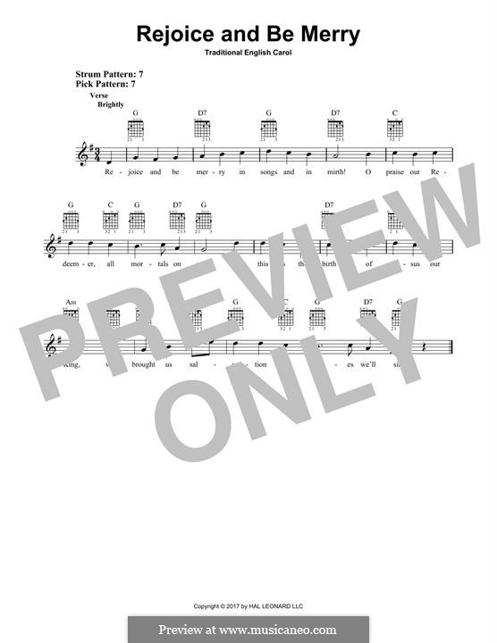 Rejoice and Be Merry (The Gallery Carol): For guitar with tab by folklore