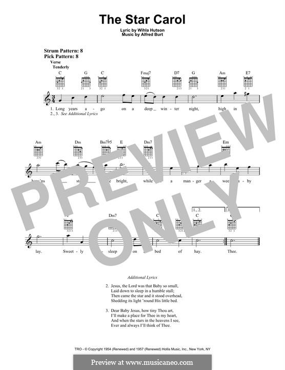 The Star Carol: For guitar with tab by Alfred Burt