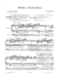 Hymn for Victor Hugo, Op.69: For organ by Camille Saint-Saëns