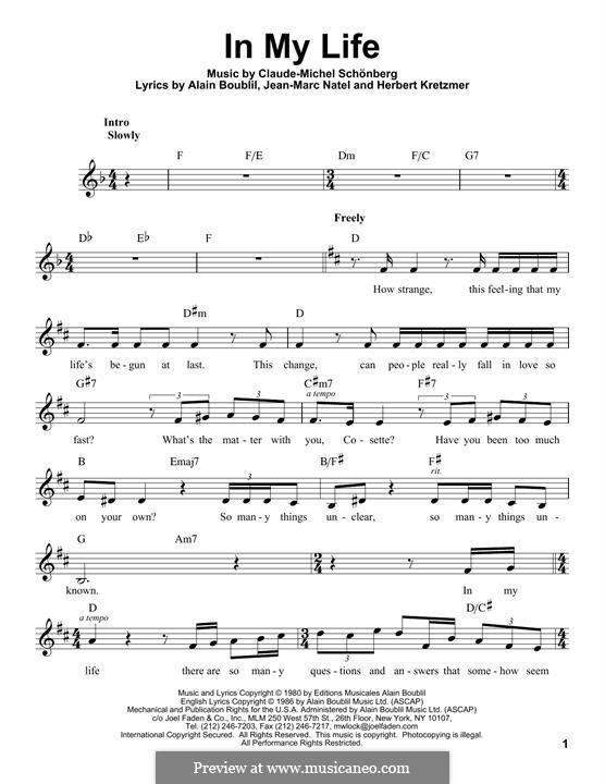 In My Life: Melody line by Claude-Michel Schönberg