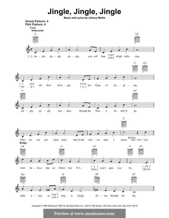 Jingle, Jingle, Jingle: For guitar with tab by Johnny Marks