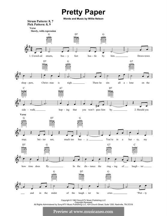 Pretty Paper: For guitar with tab by Willie Nelson