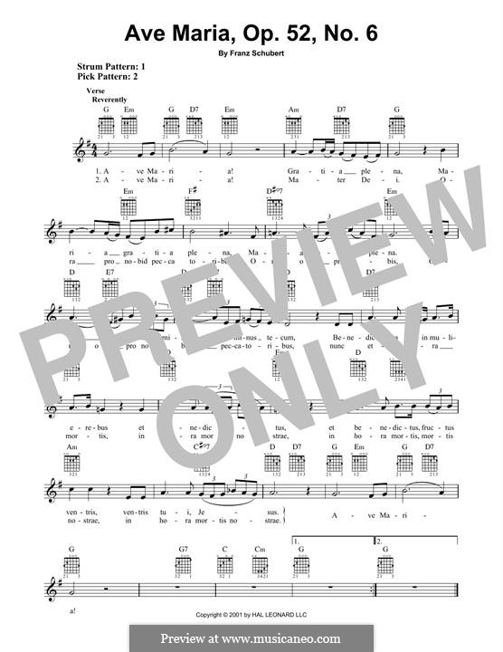 Ave Maria (Printable Scores), D.839 Op.52 No.6: For guitar with tab by Franz Schubert