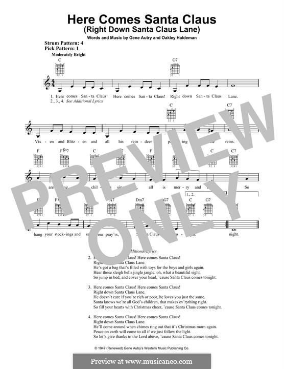 Here Comes Santa Claus (Right Down Santa Claus Lane): For guitar with tab by Gene Autry, Oakley Haldeman