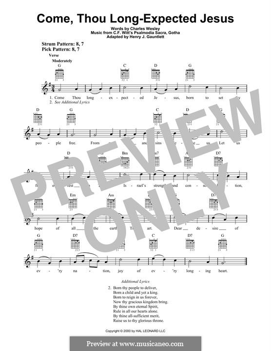 Come, Thou Long-Expected Jesus: For guitar with tab by Rowland Huw Prichard