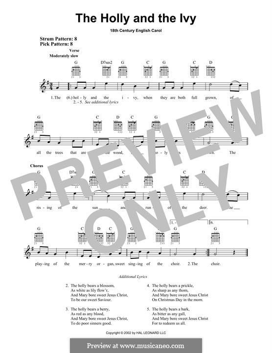 The Holly and the Ivy: For guitar with tab by folklore