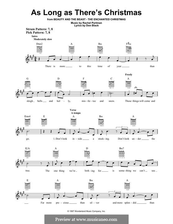 As Long as There's Christmas (Peabo Bryson and Roberta Flack): For guitar with tab by Rachel Portman