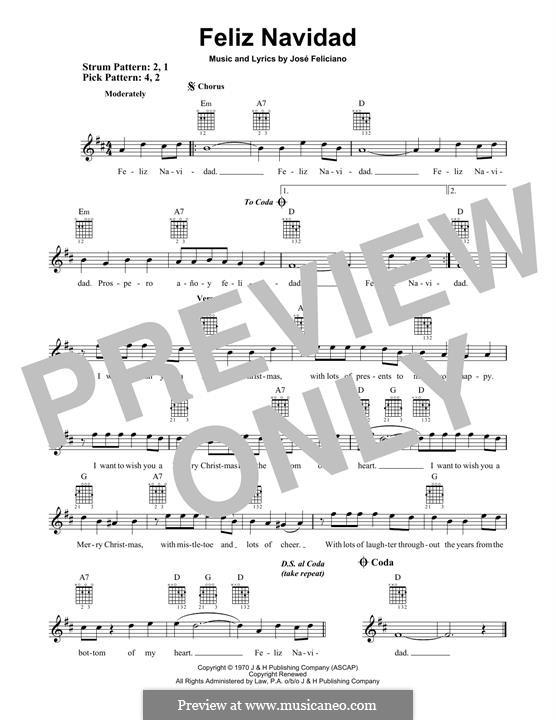 Feliz Navidad: For guitar with tab by José Feliciano