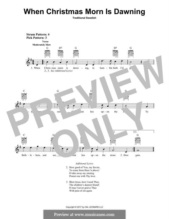 When Christmas Morn Is Dawning: For guitar with tab by folklore