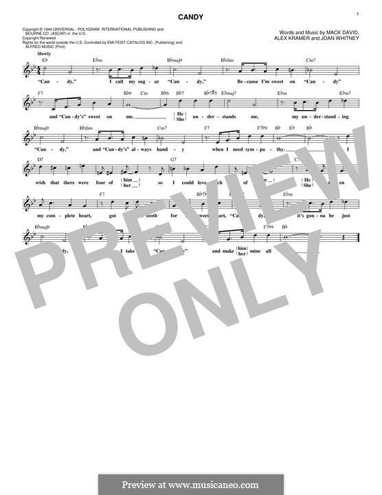 Candy (Ray Charles): Melody line by Alex Kramer, Joan Whitney, Mack David