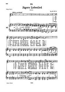 Jägers Liebeslied (Huntsman's Love Song), D.909 Op.96 No.2: For low voice and piano by Franz Schubert