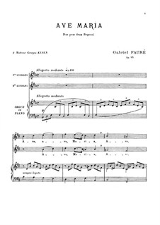 Ave Maria, Op.93: For voice and piano by Gabriel Fauré