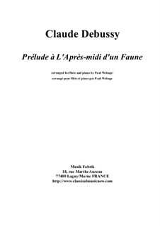 Prélude à l'après-midi d'un faune (Prelude to the Afternoon of a Faun), L.86: For flute and piano by Claude Debussy