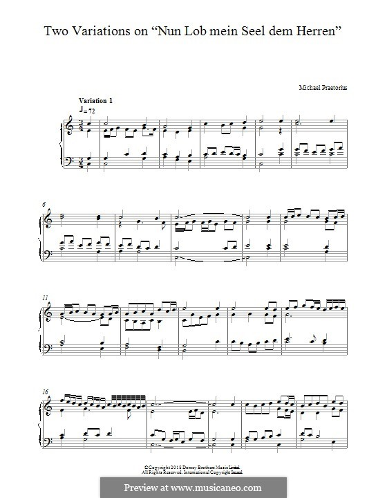 Two Variations on 'Nun Lob Mein Seel Dem Herren': For piano by Michael Praetorius