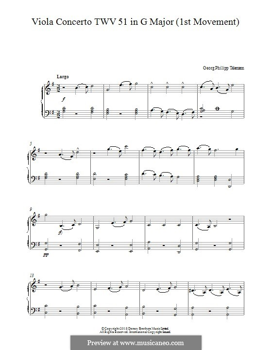 Concerto for Viola, Strings and Basso Continuo in G Major, TWV 51:G9: Movement I. Version for piano by Georg Philipp Telemann