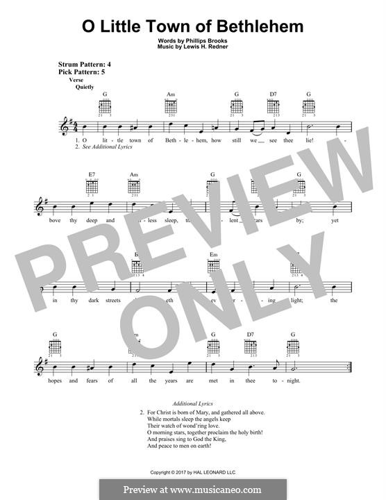 O Little Town of Bethlehem: For guitar with tab by Lewis Henry Redner