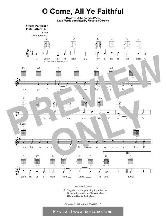 O Come, All Ye Faithful (Printable Scores): For guitar with tab by John Francis Wade