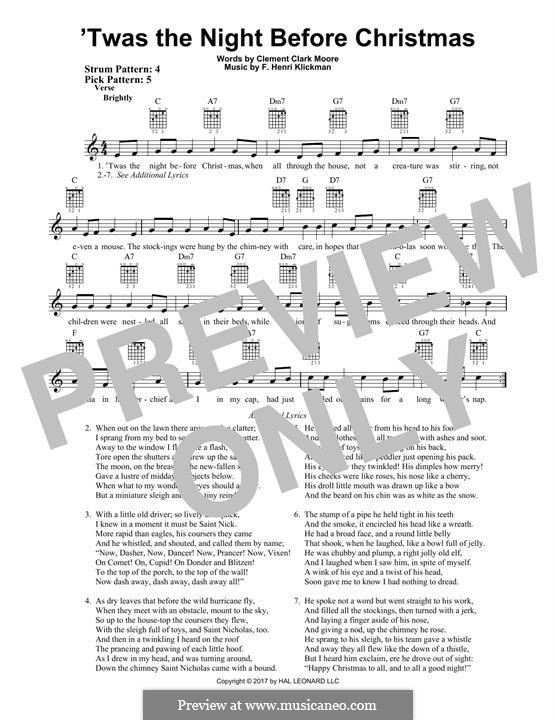 'Twas the Night Before Christmas (Clement Clark Moore): For guitar with tab by Frank Henri Klickmann