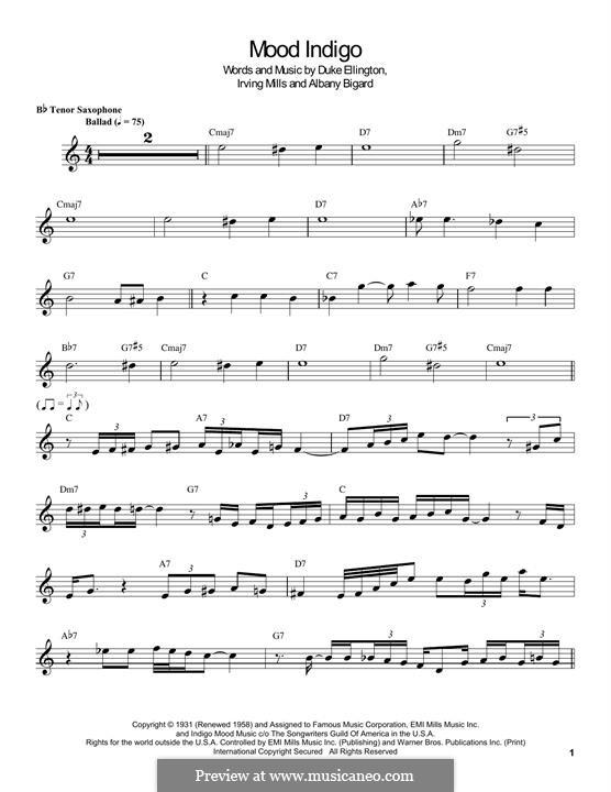 Mood Indigo: For tenor saxophone by Irving Mills, Albany Bigard, Duke Ellington