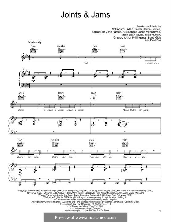 Joints & Jams (Black Eyed Peas): For voice and piano (or guitar) by Ali Jones-Muhammad, apl.de.ap, Barry Gibb, Greg Phillinganes, Jaime Gomez, Q-Tip, will.i.am, Trevor Smith, Malik Izaak Taylor, Paul Poli