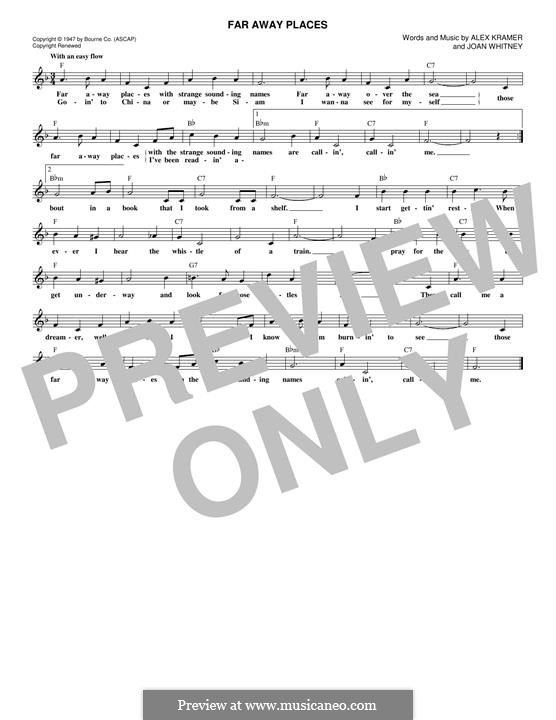 Far Away Places: Melody line by Alex Kramer, Joan Whitney