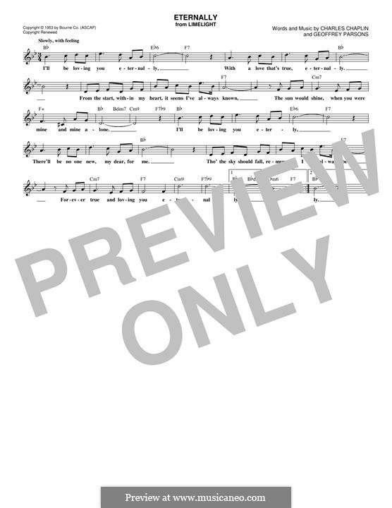 Eternally: Melody line by Charles Chaplin