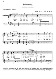 Lebewohl, Op.22: For voice and guitar by Friedrich Silcher