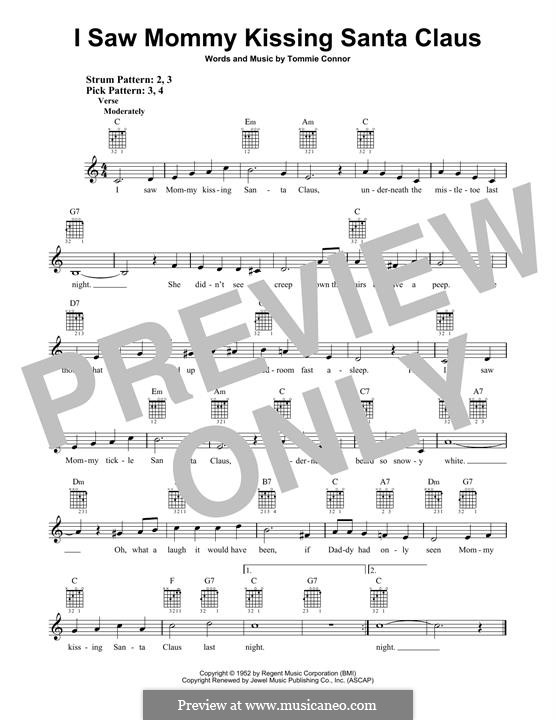I Saw Mommy Kissing Santa Claus: For guitar with tab by Tommie Connor