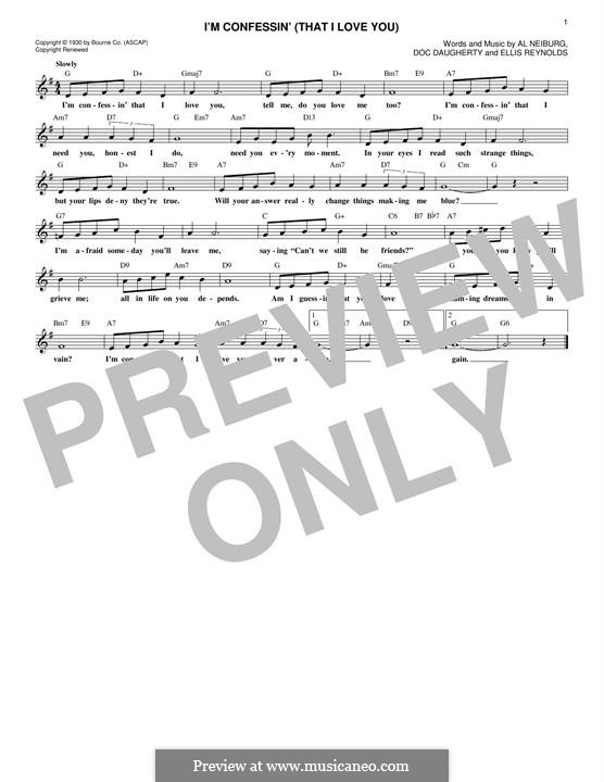 I'm Confessin' That I Love You (Perry Como): Melody line by Doc Daugherty, Ellis Reynolds