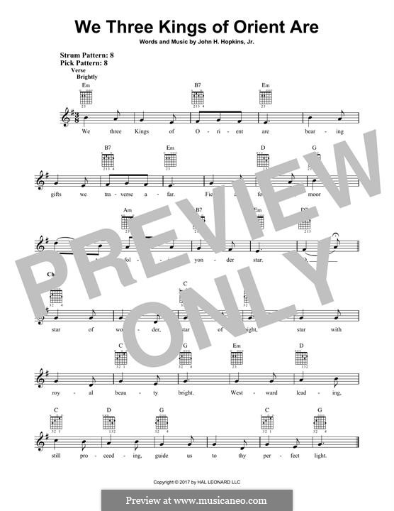 We Three Kings of Orient are (Printable Scores): For guitar with tab by John H. Hopkins Jr.
