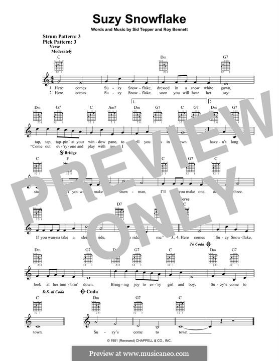 Suzy Snowflake (Rosemary Clooney): For guitar with tab by Roy C. Bennett, Sid Tepper