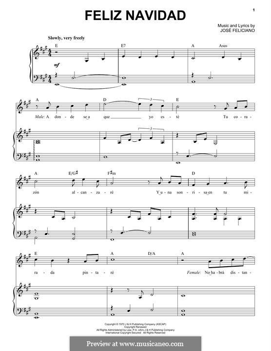 Feliz Navidad: For voice and piano by José Feliciano