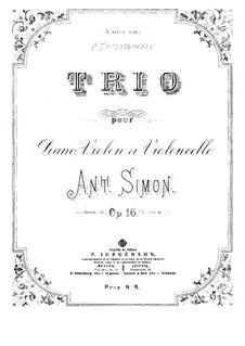 Piano Trio in D Minor, Op.16: Full score by Anton Simon