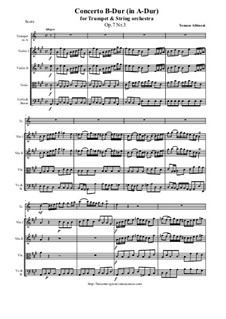 Concerto No.3 in B Flat Major: For trumpet and string orchestra (transported in A-Dur) - score and all parts by Tomaso Albinoni