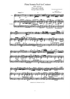 Sonata for Oboe, Continuo and Harpsichord or Piano No.8 in C Minor, HWV 366 Op.1: Score, solo part by Georg Friedrich Händel