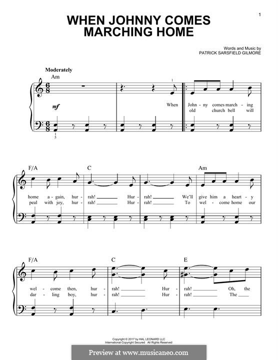 When Johnny Comes Marching Home: For piano by Patrick Sarsfield Gilmore