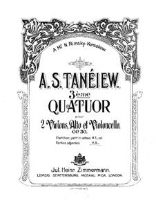String Quartet No.3 in A Major, Op.30: Violin I part by Alexander Taneyev